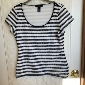 WHBM Scooped Neck Lined Striped Tee, Medium